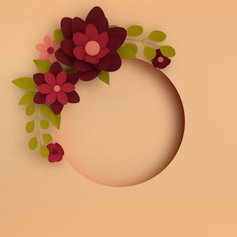 Carta elegante fiori rosso scuro su fondo beige