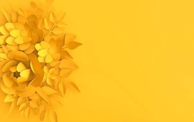 Carta elegante fiori bianchi e foglie, sfondo floreale origami