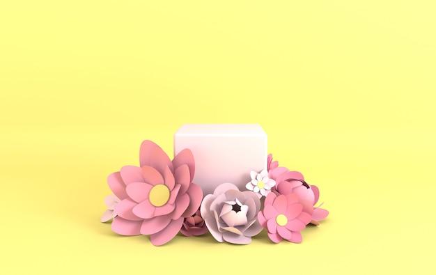Piattaforma del podio con cornice di fiori di carta per la presentazione del prodotto