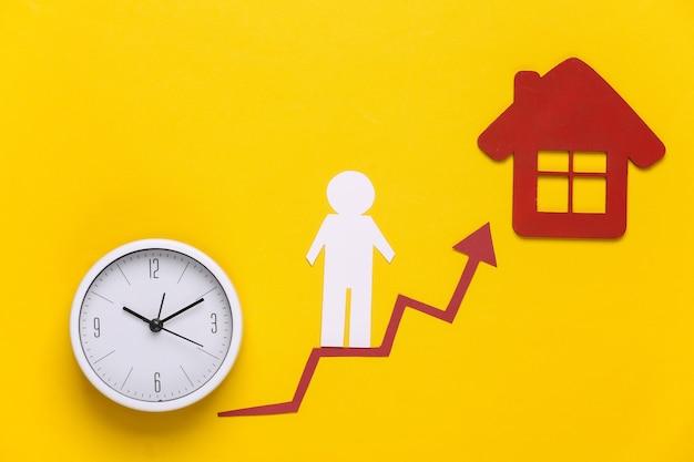 Uomo di carta su freccia di crescita, orologio e casa