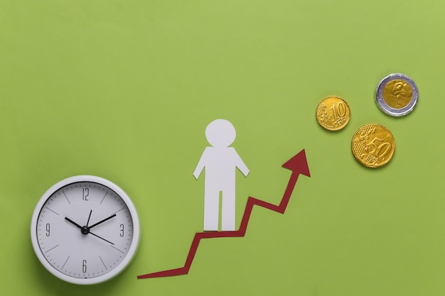 Uomo di carta sulla freccia, sulle monete e sull'orologio di crescita. verde. simbolo di successo finanziario e sociale, scala di progresso. tempo di carriera.