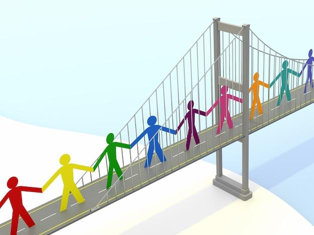 Gente di carta, passerelle di ponti sospesi. rendering 3d