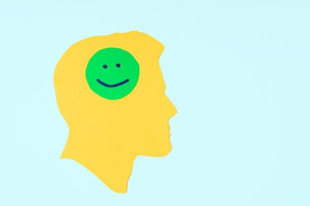 Profilo di carta di una testa gialla con una faccina sorridente felice del libro verde psicologia di pensieri positivi