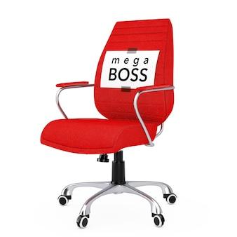 Foglio di carta con messaggio mega boss su sedia da ufficio boss in pelle nera su sfondo biancol. rendering 3d.