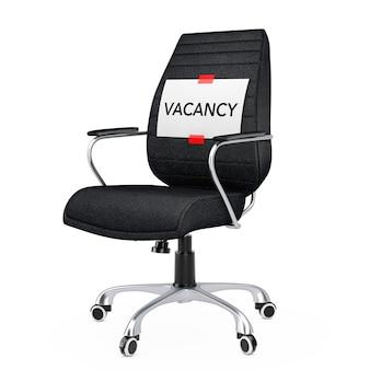 Foglio di carta con messaggio di posto vacante su sedia da ufficio boss in pelle nera su sfondo biancol. rendering 3d.
