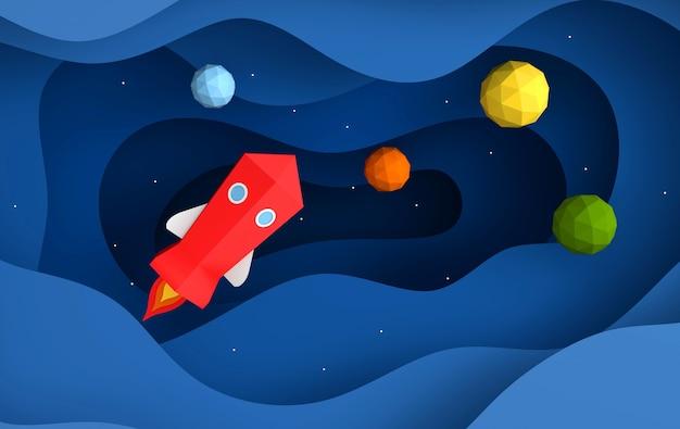Lancio dello space shuttle di carta verso il cielo