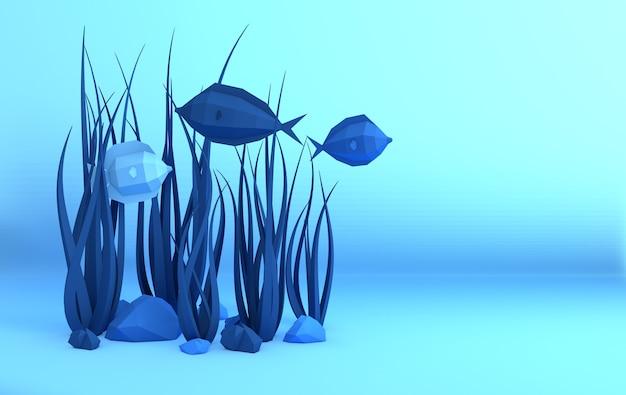 Carta sott'acqua grotta marina con pesci, pietre, fondali marini di alghe, onde