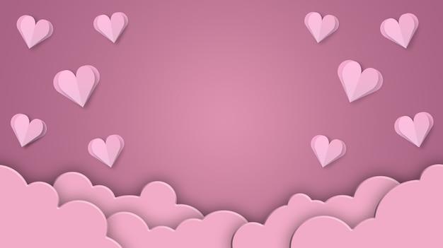 Cuore di papercut per lo sfondo di san valentino con nuvole 3d
