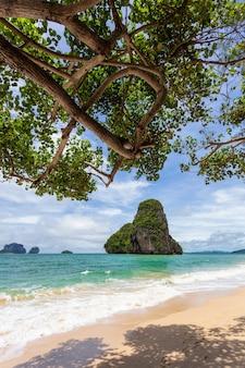 Paradise beach sull'isola tropicale con cielo blu a railay beach