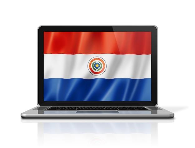 Bandiera del paraguay sullo schermo del computer portatile isolato su bianco. rendering di illustrazione 3d.
