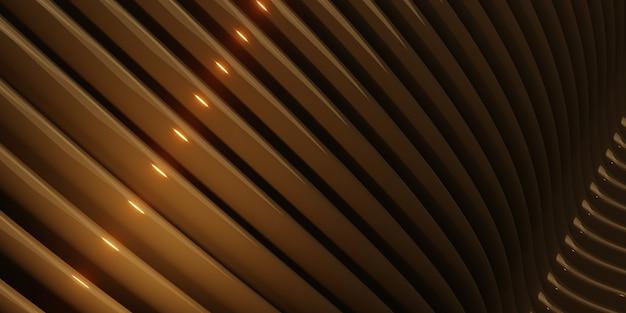 Curve parallele onde superficie tubo di plastica curva dorata illustrazione astratta 3d distorta