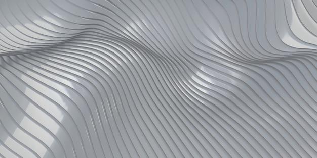 Onde di fondo dell'onda della linea parallela dell'illustrazione 3d del foglio di gomma che ondeggia in plastica
