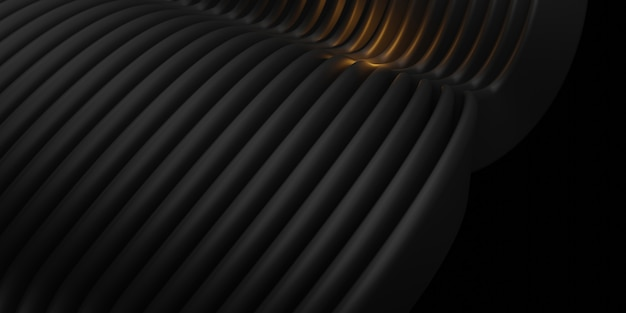 Linee parallele piani d'onda superfici di tubo di plastica distorta curva nera 3d illustrazione astratta