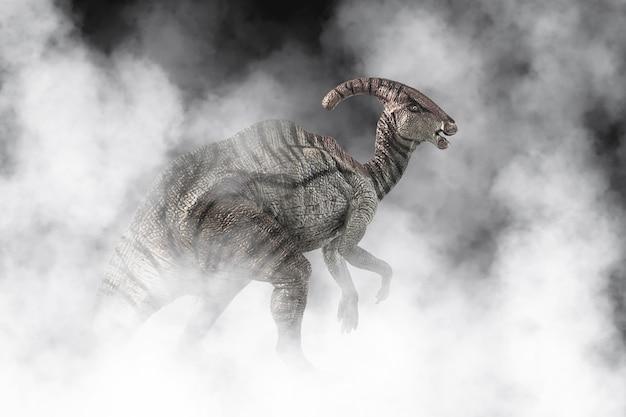 Dinosauro parasaurolophus su sfondo di fumo