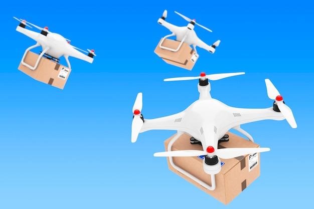 Concetto di spedizione di pacchi. droni quadrocopter che consegnano un pacco su sfondo blu. rendering 3d