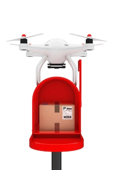 Concetto di spedizione di pacchi. droni quadrocopter consegnare un pacco nella casella di posta su sfondo bianco. rendering 3d