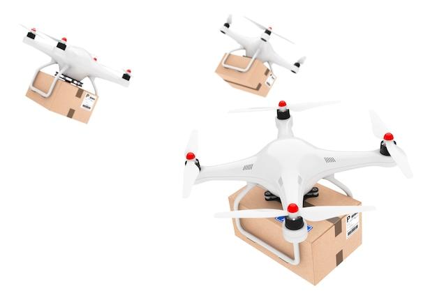 Concetto di spedizione di pacchi. droni quadrocopter che consegnano un pacco su uno sfondo bianco. rendering 3d