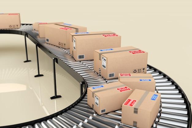 Concetto di sistema di trasporto di pacchi. scatole di cartone sul trasportatore in magazzino su uno sfondo luminoso. rendering 3d