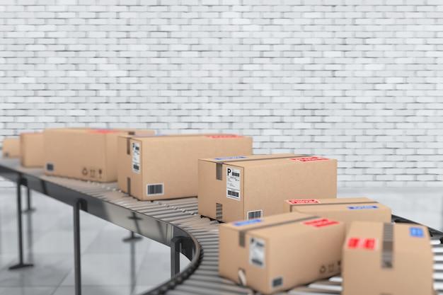 Concetto di sistema di trasporto di pacchi. scatole di cartone sul trasportatore in magazzino davanti a un muro di mattoni. rendering 3d