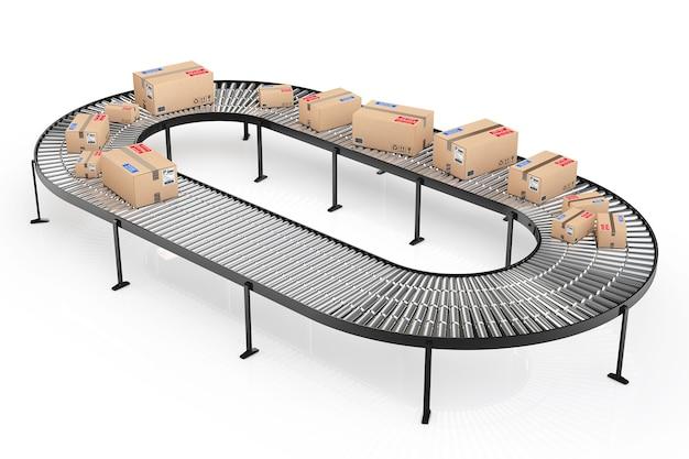 Concetto di sistema di trasporto di pacchi. scatole di cartone sul trasportatore in magazzino su sfondo bianco. rendering 3d
