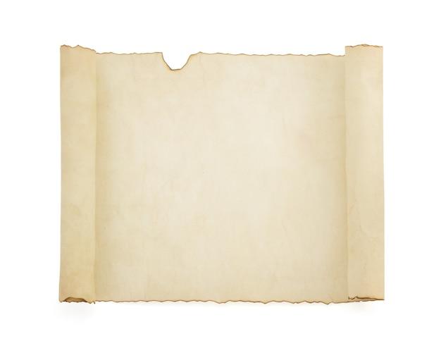 Rotolo di pergamena isolato su bianco