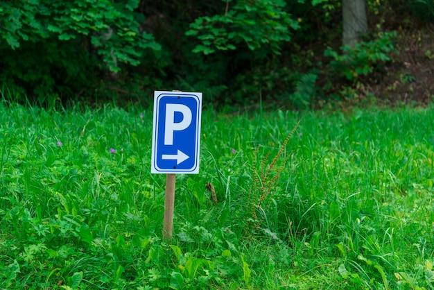 Segno di parcheggio sull'erba verde