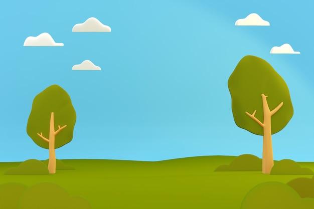 Parcheggi il paesaggio naturale del campo da giuoco, scena del fumetto dell'illustrazione 3d.