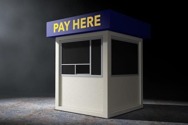 Cabina della zona di parcheggio con pay here accedi alla luce volumetrica su uno sfondo nero. rendering 3d.