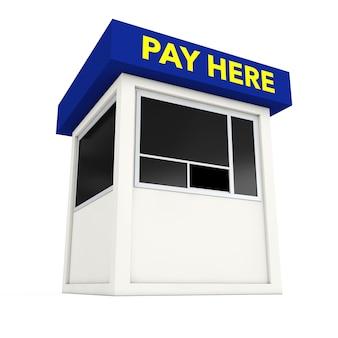 Zona di parcheggio booth con pagare qui segno su uno sfondo bianco. rendering 3d.