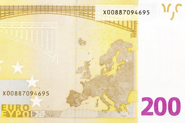 Parte della banconota da 200 euro su macro. ciao foto ad alta risoluzione.