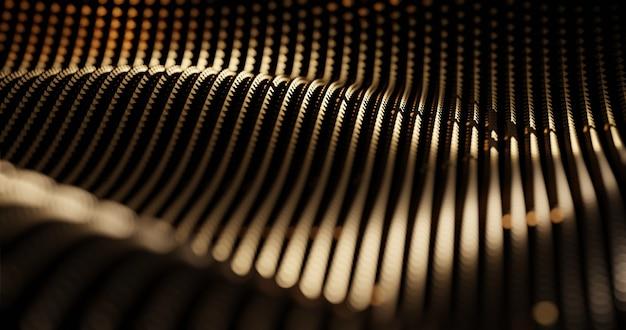 Sfondo di illustrazione 3d di lusso di drappeggi di particelle d'oro Foto Premium