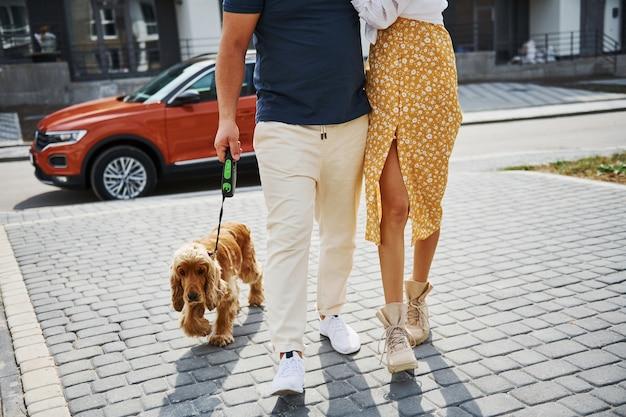 Vista particellare di una coppia adorabile che fa una passeggiata insieme al cane all'aperto vicino all'auto.