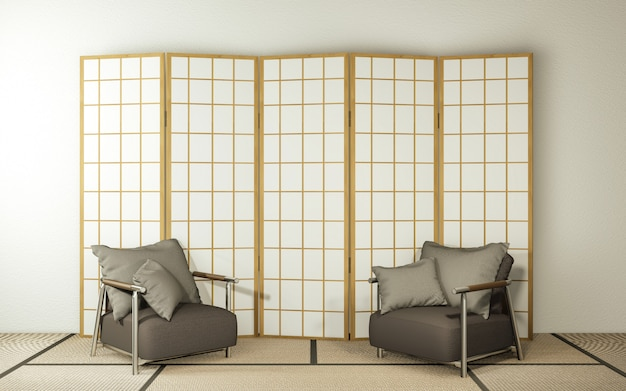 Design in legno di carta divisoria e poltrona sul pavimento del tatami soggiorno.