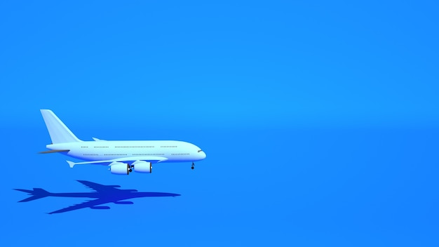 Aereo passeggeri vola su sfondo blu, 3d'illustrazione.