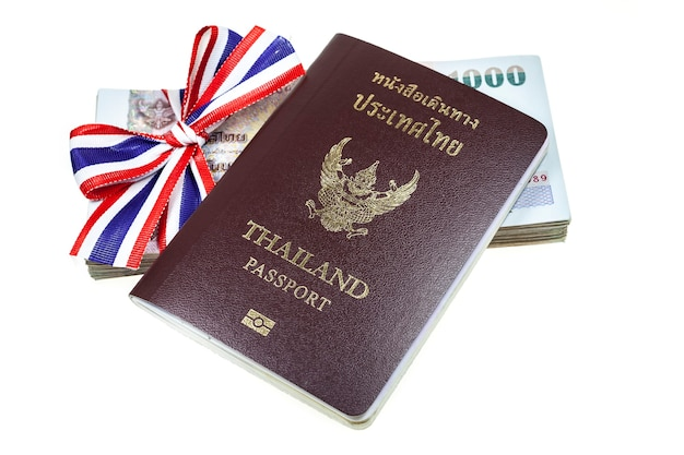 Passaporto, soldi su sfondo bianco.