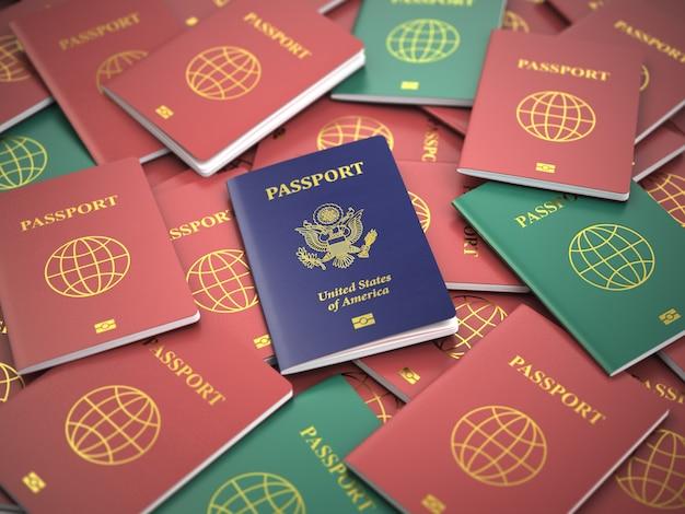 Passaporto degli stati uniti sulla pila di passaporti diversi. concetto di immigrazione. passaporti usa. 3d