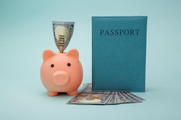 Passaporto con soldi e salvadanaio sull'azzurro