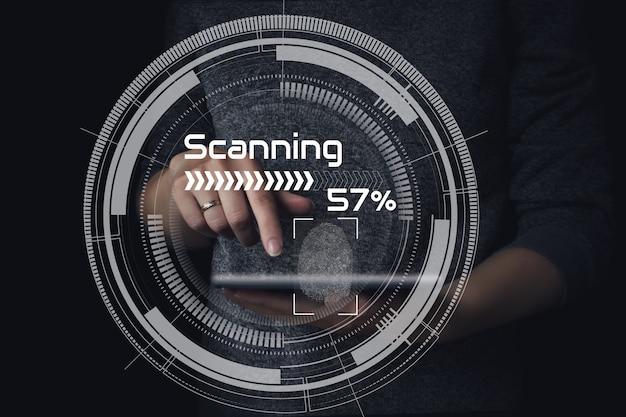 Controllo password tramite impronte digitali. accesso alla rete con tecnologia di scansione delle impronte digitali.