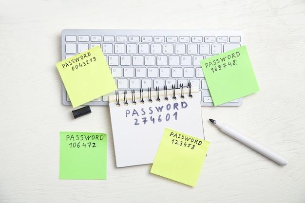 Messaggio di password scritto su foglietti adesivi nella tastiera del computer.