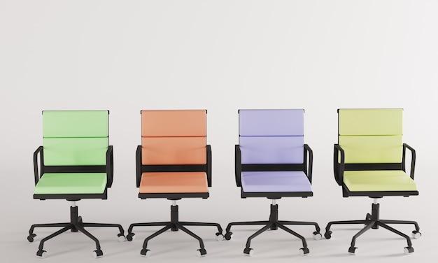 Sedie color pastello 3d rendering