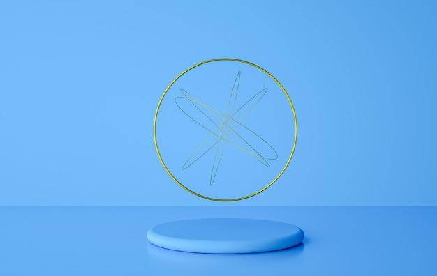 Piedistallo cilindro pastello con anello dorato e forme geometriche simulano il rendering 3d