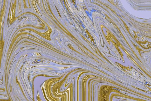 Fondo di turbinio di marmo pastello fatto a mano femminile che scorre con arte sperimentale di texture oro