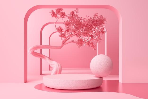 Espositore da podio minimo pastello per piedistallo di presentazione di prodotti cosmetici o sfondo della piattaforma