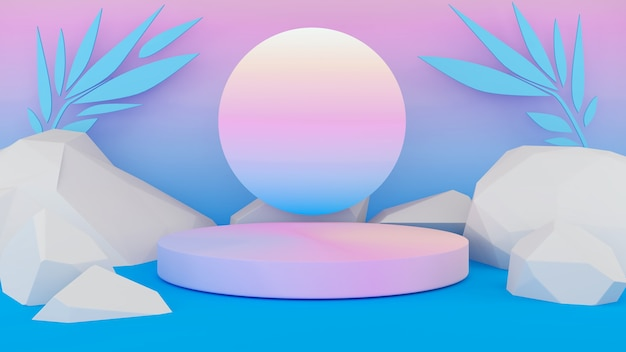 Piedistallo pastello su sfondo sfumato blu pastello con presentazione mockup di pietre rosa e bianche