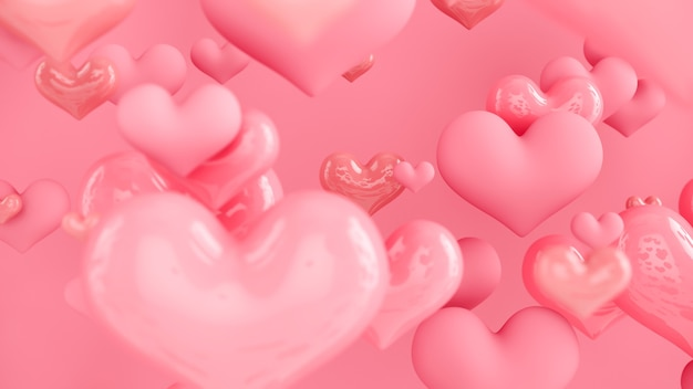 Cuori rosa pastello. sfondo astratto con cuori. biglietto di auguri, poster. giorno di san valentino. rendering 3d.