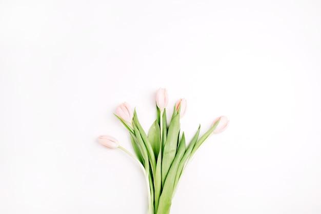 Mazzo di fiori di tulipano rosa pastello isolato su priorità bassa bianca. disposizione piatta, vista dall'alto