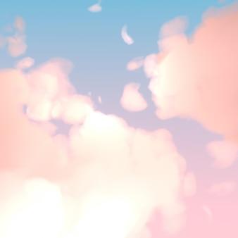 Cielo pastello con soffici nuvole
