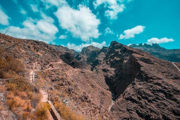 Percorso tra un canyon per il trekking sull'isola di tenerife, isole canarie. spagna