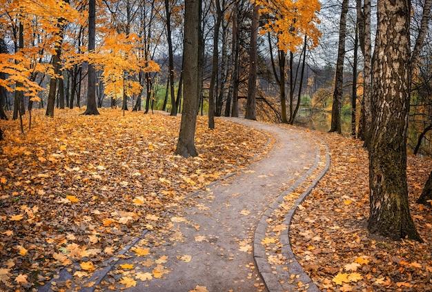 Un percorso nel parco tsaritsyno a mosca in una giornata autunnale