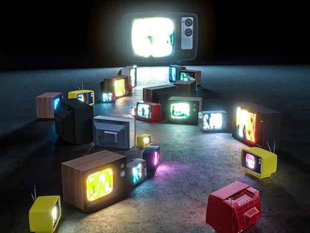 Percorso con vecchi televisori a tubo catodico che porta ad un grande televisore. rendering 3d.